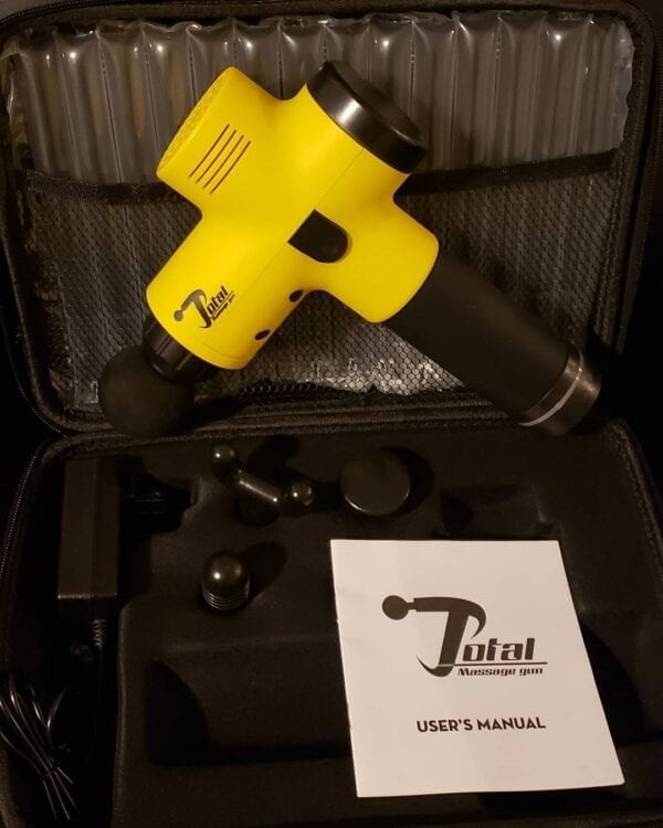 Yellow Total Massage Gun In Case With 4 Attachments